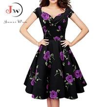Audrey Hepburn Robe Retro Rockabilly Dress 2017 jurken 50s 60s Swing Floral Pin up Women Summer Vintage Dresses zomer jurk