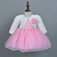 Mode weihnachten infant baby mädchen dress mit hut niedliche prinzessin kleider für baby rosa weiß rot 3 farbe freies verschiffen
