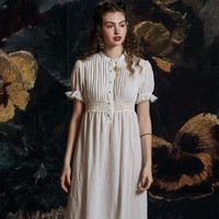 Summer Dress Nightgown Elegant Romantic Sleepwear White Short Leeve Dress Woman Summer Princess Nightwear Skirt Leisure