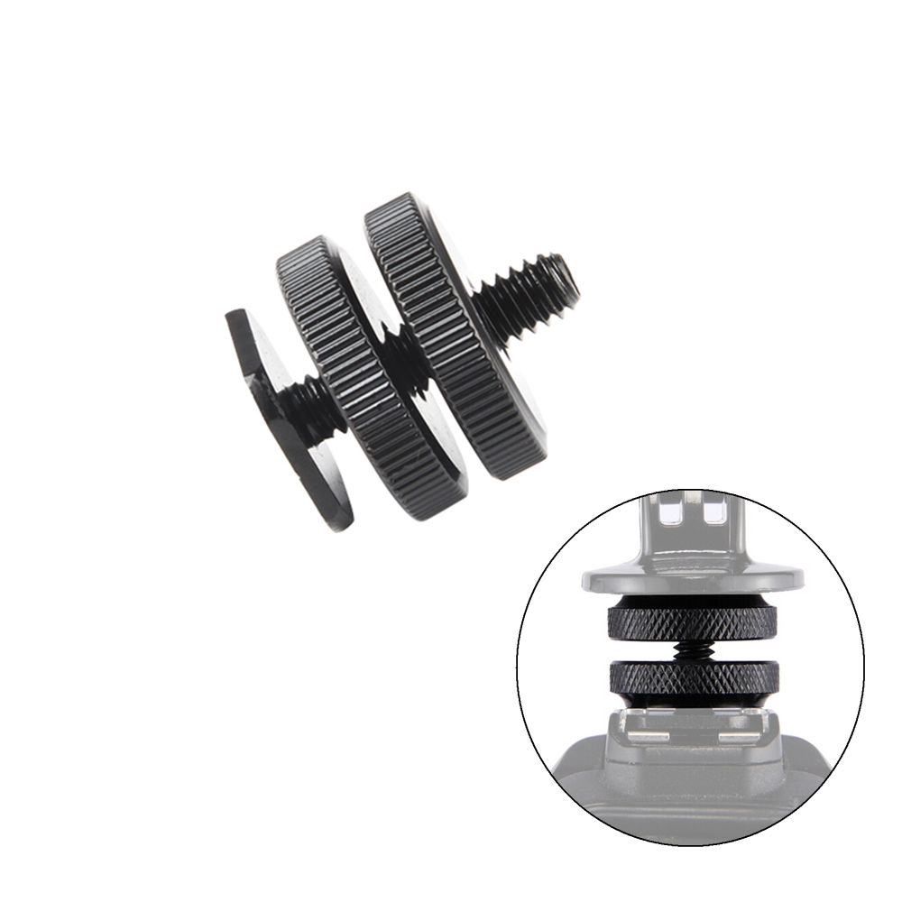 Viltrox Pro 1/4 Dual Nuts Tripod Mount Screw Black To Flash Hot Shoe Adapter For Camera Studio Accessory L116T L132T LED light image