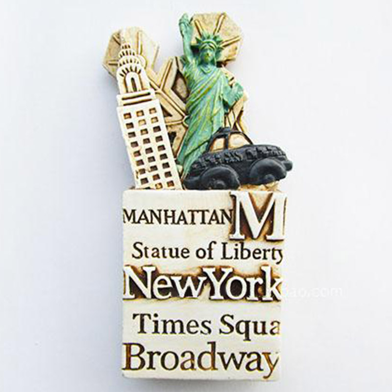 1Pcs/set The Statue of Liberty New York City USA Tourist Travel Souvenir 3D Resin Fridge Magnet image