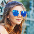 Rosa Recubrimiento Del ojo de Gato gafas de Sol Retro Mujer del Ojo de Gato Diseñador Señoras gafas de Sol de Marco de Metal de Doble Vigas Para mujeres Oculos