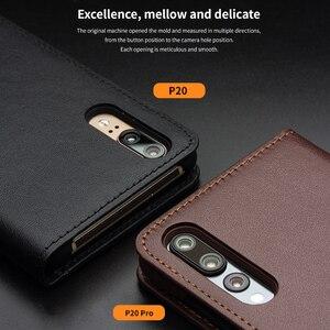 Image 5 - סגנון עסקי QIALINO חריץ כרטיס טלפון כיסוי עבור Huawei Ascend Case Flip ארנק עור אמיתי יוקרה עבור Huawei P20 P20 פרו