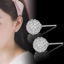 6mm 8mm 10mm Flash Ball crystal earring women s925 pins studs silver round sparkling disco ball earrings girls party jewelry L40
