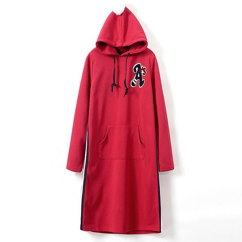 2016 new arrival autumn winter hooded long hoodie dress fleece lined warm women hoodies sweatshirts dames truien