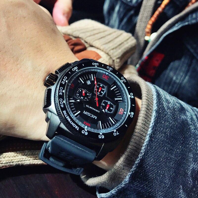 MEGIR Men Creative Fashion Analog Quartz Wristwatches Silicone Strap Waterproof Military S