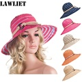 A277 New Fashion Womens Summer Foldable Wide Brim Floppy Stripe church stripe  Bucket Hats for women