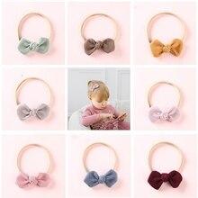 Corduroy Bow Headbands Nylon Hair Ties For Kids Girls Soft Elastic Pon