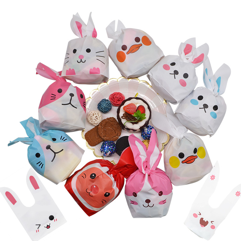 25Pcs/lot Cartoon Cute Rabbit Long Ear Wedding Birthday Favor Candy Gift Bags Bunny Cookie Snack Biscuit Packaging Bag Supplies(China)