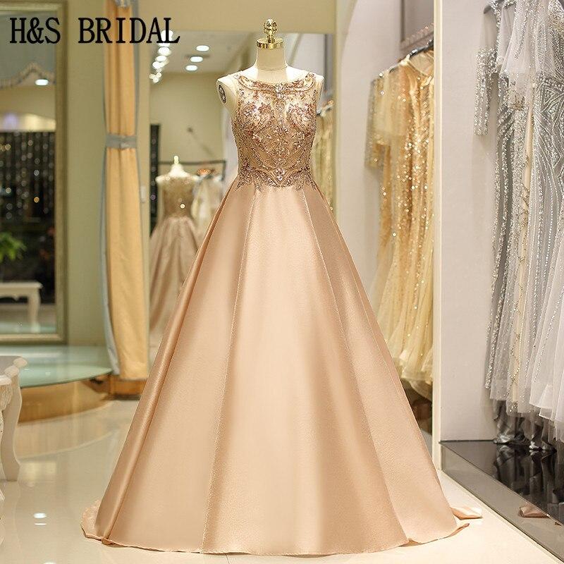 H & S mariée luxe cristaux Robe De soirée longue élégante soie Satin femme robes de bal Robe De soirée robes de fiesta