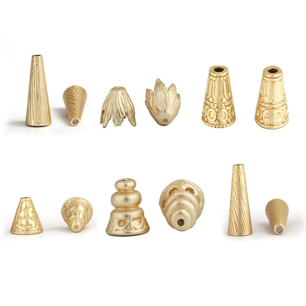 Zinc Based Alloy Boho Chic Ethnic Style Tassel Beads Cap Cone Matt Gold Stripe 28mm(1 1/8