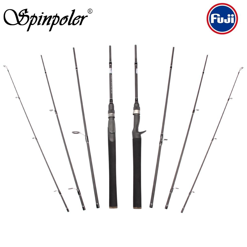 Spinpoler 2019 4 pieces 6 6 Travel Carbon Casting Spinning Salt Fresh Water Portable Fuji Fishing