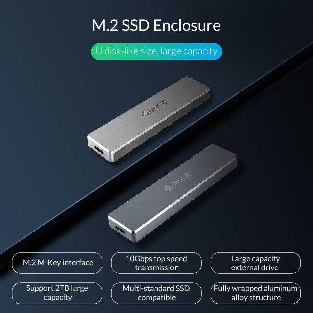 ORICO M.2 M clé SSD à USB 3.1 Type C boîtier M.2 Portable SSD cas de disque dur Mini Clip pousser boîtier ouvert mallette de rangement 2 To - 2