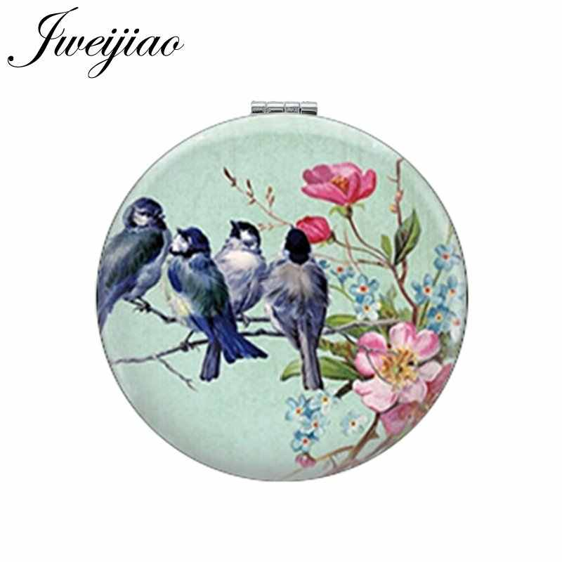 JWEIJIAO Art Picture Birds On Branch Round Makeup Mirror PU Leather Mini Folding Compact 1X/2X Magnifying Lay's Pocket Mirror