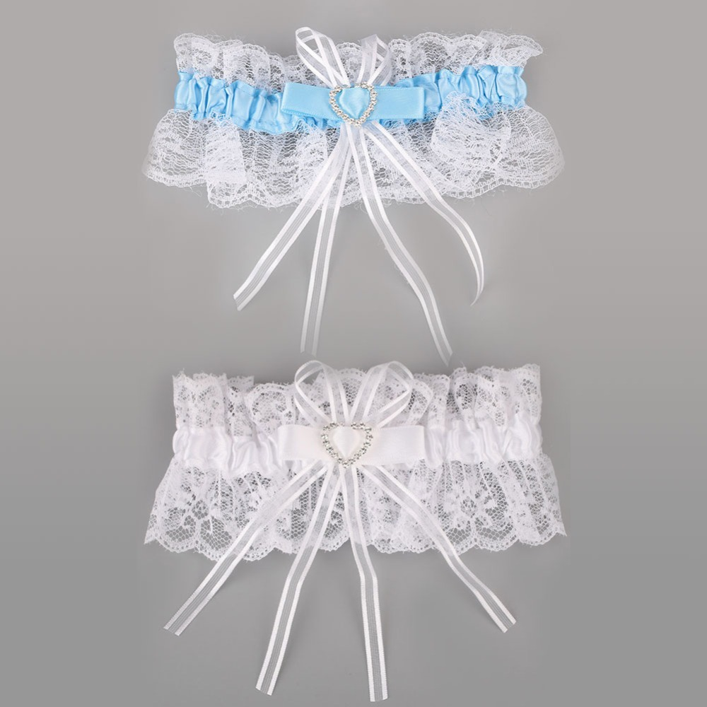 Garter White Blue Lace Wedding Accessory Lucky Bride Bow Rhinestone Heart Lucky Bride Bow Elastic Tape