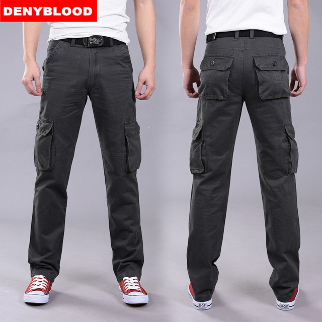 Denyblood Jeans 2016 Brand New Mens Military Cargo Pants Multi-pockets Baggy Men Casual Pants Outwear Twill Pants 582