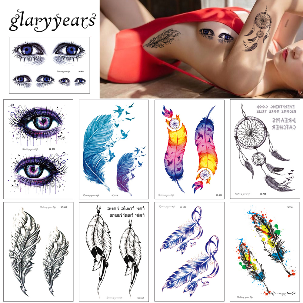 Glaryyears 22 Designs 1 Sheet Colored Drawing SC Body Tattoo Temporary Water Transfer Tattoo Sticker Dreamcatcher Feather Beauty