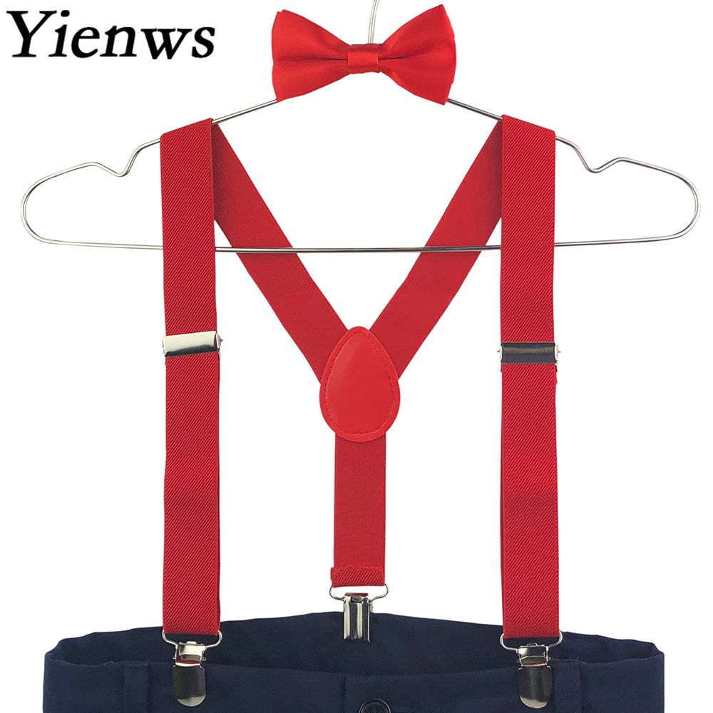 Yienws Boys Girls Bow Tie Suspenders For Baby Kids Pants Bow Tie Braces For Children Pink Red Black Szelki Bretels YiA050