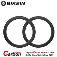 BIKEIN 1 Pair Ultralight Road Bike 700C 3k Carbon Clincher Tubular Wheels 50mm Depth Racing Matte