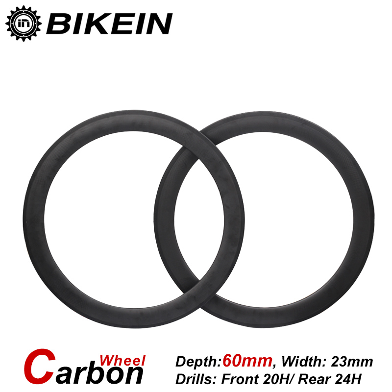 BIKEIN 1 Pair Ultralight Road Bike 700C 3k Carbon Clincher Tubular Wheels 60mm Depth Racing Matte Finished Cycling Bicycle Parts racing wheels h 480 7 0 r16 4x114 3 et40 0 d67 1