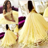 Cinderella Daffodil Yellow Quinceanera Dresses Off The Shoulder Handmade 3D Floral Flowers Ball Gown Lace Up Sweet 15 Prom Dress