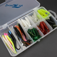 50 pcs 6cm 7cm 7.5cm soft bait sea fishing tackle wobbler jigging fishing lure silicone bait soft worm shrimp Set and Tackle Box