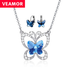 Veamor butterfly jewelry sets for girls blue crystals from australia necklace pendent and hoop earrings women.jpg 250x250