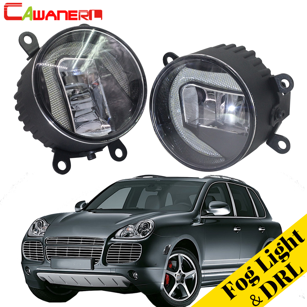 Cawanerl 2 X Car Accessories 2in1 LED Fog Light + Daytime Running Lamp DRL White High Bright For Porsche Cayenne 955 2002 2015