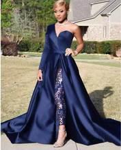 Женское вечернее платье со шлейфом темно синее асимметричное