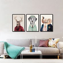 Dog Deer Bear Giraffe Cartoon Animal Portrait Wall Pictures For Living Room Art Decoration Posters And Prints