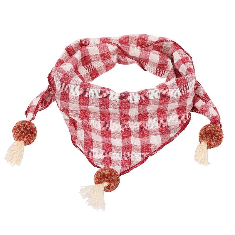 Весенние клетчатые треугольные шарфы в горошек для маленьких девочек; осенне-зимняя шаль для мальчиков и девочек; Детские хлопковые воротники; теплый детский шейный платок - Цвет: red grid