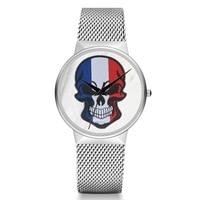 New Fashion Popular Skull Flag Watch Stainless Steel Band Bracelet Watch Quartz Casaul Student Skull Watch