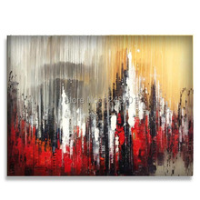 handmade abstract Oil painting contemporary city landscape palette knife floral impasto painting
