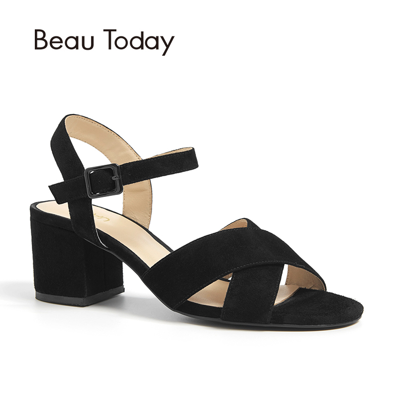 BeauToday Women Sandals Kid Suede Genuine Leather Buckle Strap Top Brand Ladies Summer high Heel Shoes