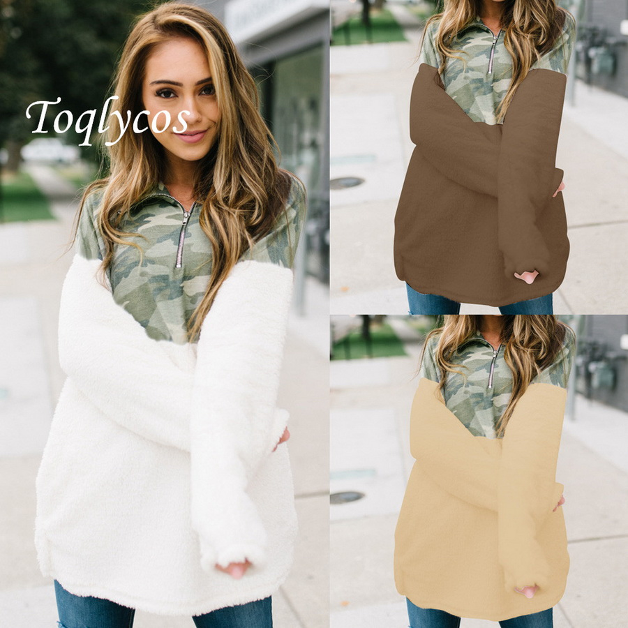 Expressive European And American Pop Woman Hot Sale Jacket Sexy High Collar Zipper Camouflage Spell Color Plush Sweater431shi Women's Clothing