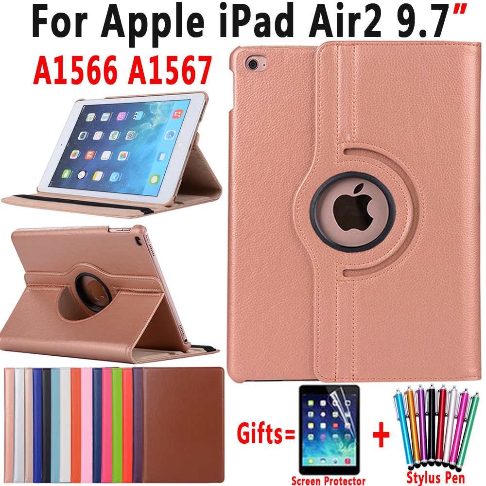 360 Degree Rotating Litchi Pattern PU Leather Cover Case for Apple iPad Air 2 iPad 6 9.7 inch Coque Capa Funda with Stand Holder popular pattern pu leather case with card slots for apple ipad air 2 case folio stand protector skin for ipad air 2 cover 2017