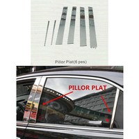 For Toyota COROLLA 2003 6pcs Set PILLOR PLAT Cover ABS Chrome Car Styling