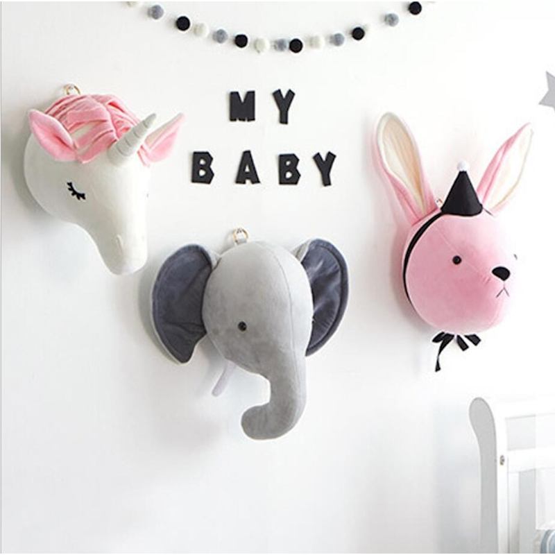 Elephant Pillow Baby Room Decoration Plush Toys Infant Kids Rabbit Baby Bedding sleep toys doll Boy bunny baby room wall hangingPillow   -