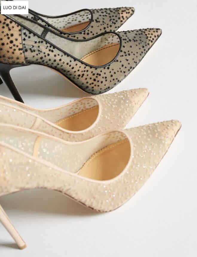 2019 Hauts Strass Beige Beige La Talon Talons Femmes Soirée À Mariage Chaussures Bride noir Nouveau Mesh Air Boucles Mince Cheville De Habillées Pompes r1Yzr