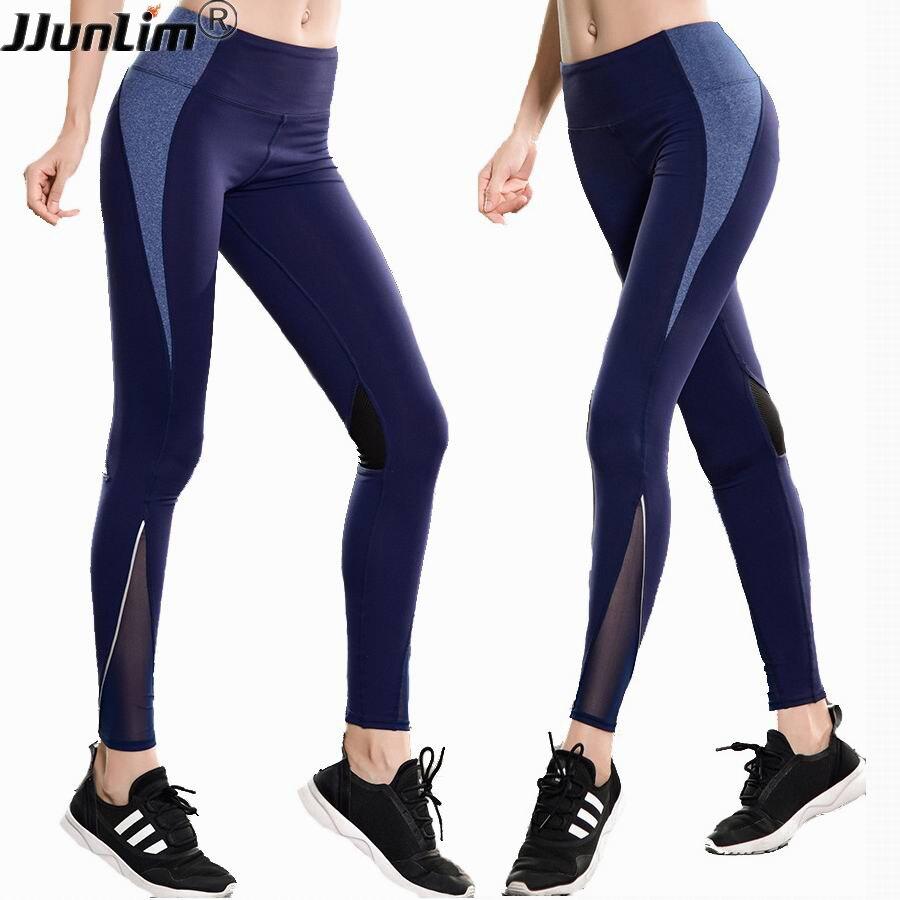 Femmes Fitness Leggings Taille Haute Yoga pantalon Maille Sportives Workout Leggings Femelle Élastique Pantalon Mince Noir Bleu Entraînement Pantalon