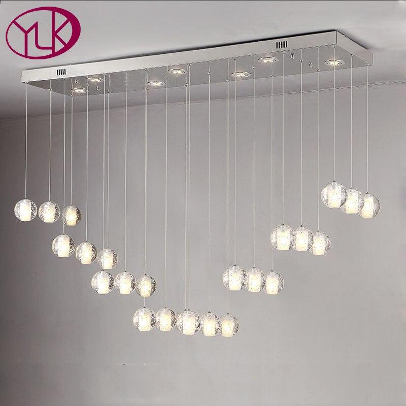 Rectangle Design Modern Crystal Chandelier For Dining Room Large Bar Hanging Lighting Fixture Lustre Home Decor Cristal Lamps