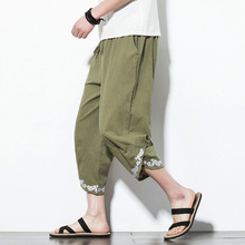 5XL Summer Men Linen Casual Baggy  Sweatpants Embroid Loose Harem Jogger Pant Male Running Fitness Workout track Sporstwear