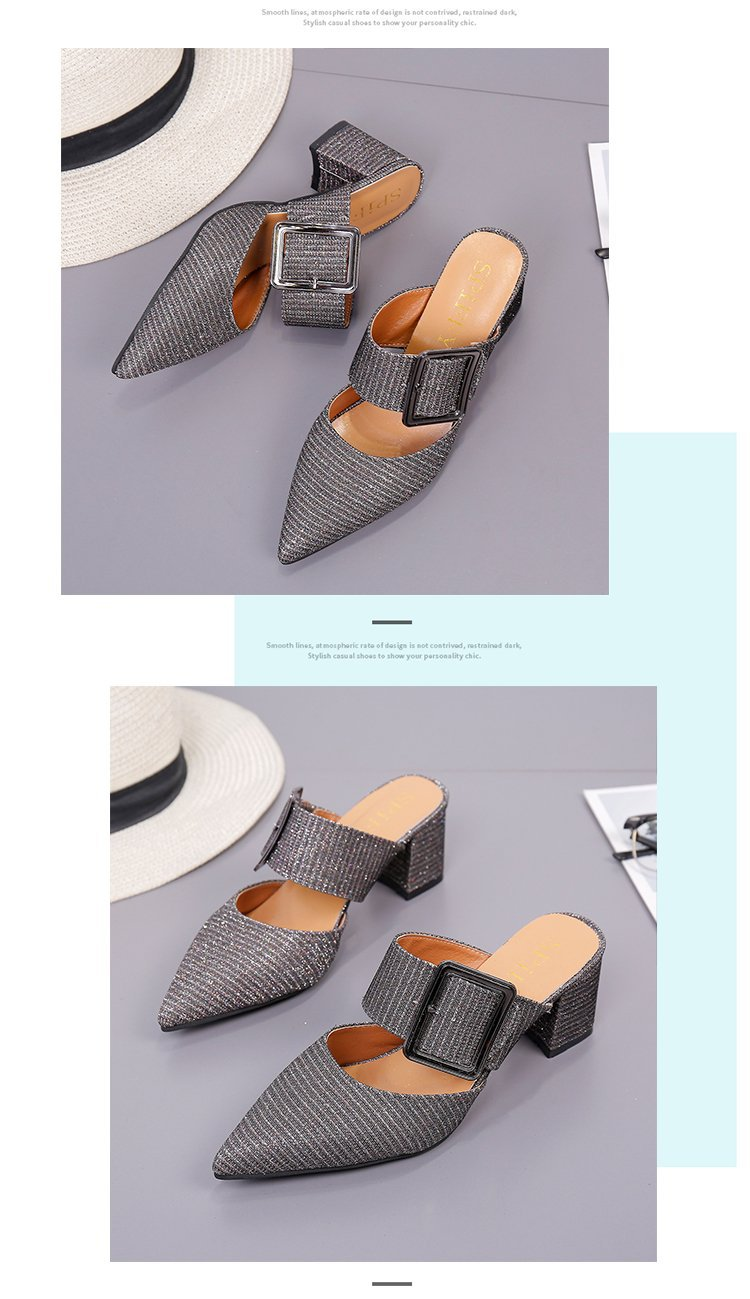 2019spring New Thick with Muller Shoes Women's High Heels Pointed Belt Buckle Back Air Slippers Elegant Temperament Baotou 13