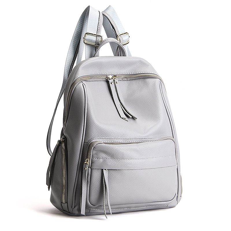 Real Soft 100% Genuine Leather Women Backpack Fashion Ladies Travel Bag Preppy Style Schoolbags For Girls High Quality new designer women backpack for teens girls preppy style school bag genuine leather backpack ladies high quality black rucksack