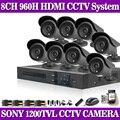 HD SONY CCD 1200TVL Camera video surveillance 8ch 960h CCTV DVR HVR NVR system security camera system with hdmi 1080p no HDD