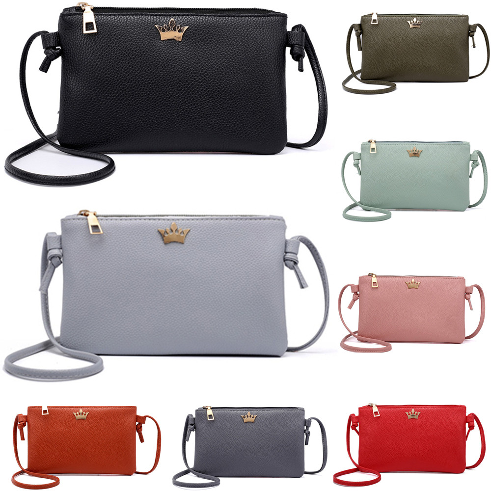 Classic PU Leather Bag Simple Shoulder Bag Mini Messenger Bags Candy Color Crossbody Bags Saco #