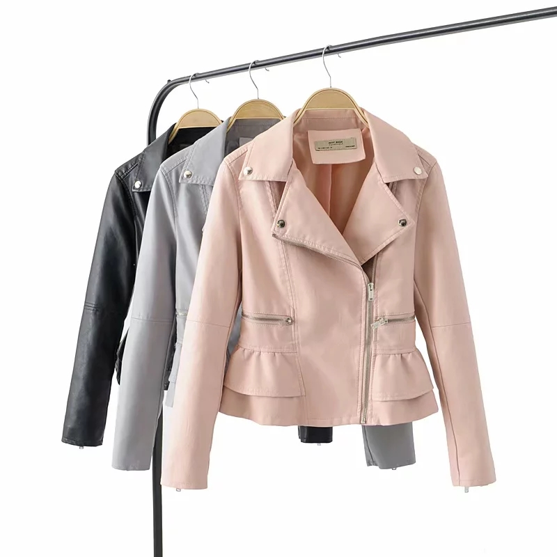 Klacwaya black women PU   Leather   jackets fashion ladies slim bomber jacket bikers girls chic short coats female outfit feminine