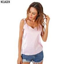 e1ea19a2dd NCLAGEN 2018 New Women Casual Cloth Sexy V Neck Loose Satin Tank Top Solid  Pink Black