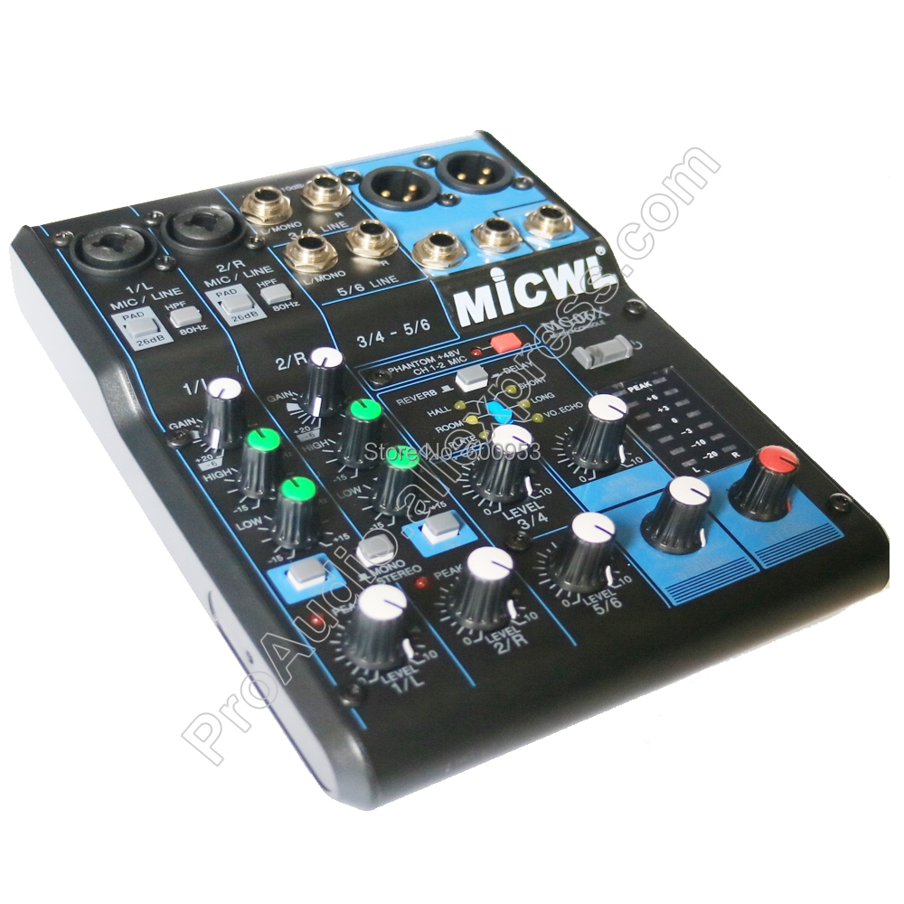 Beruf 6 Kanal Audio Dj Mixer Sound Mischpult 6 Eingang Kompakte Stereo Mixer Mit Effekten Dj-equipment 48 V Phantom Power Mg06x