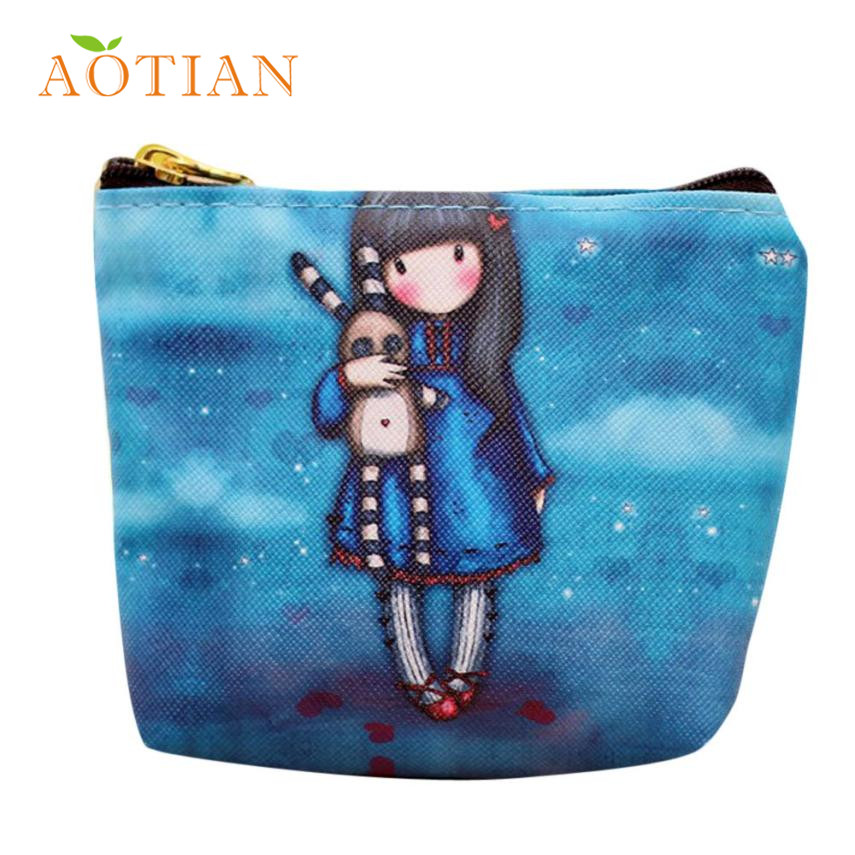 Aotian Elegance New Women Cartoon Girl Zipper Coin Purse Card Bag Wallet Handbag 17May16 Dropshipping